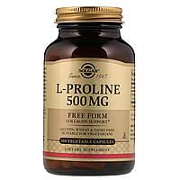 Л-пролин, Solgar, 500мг, L-Proline, 100 капсул