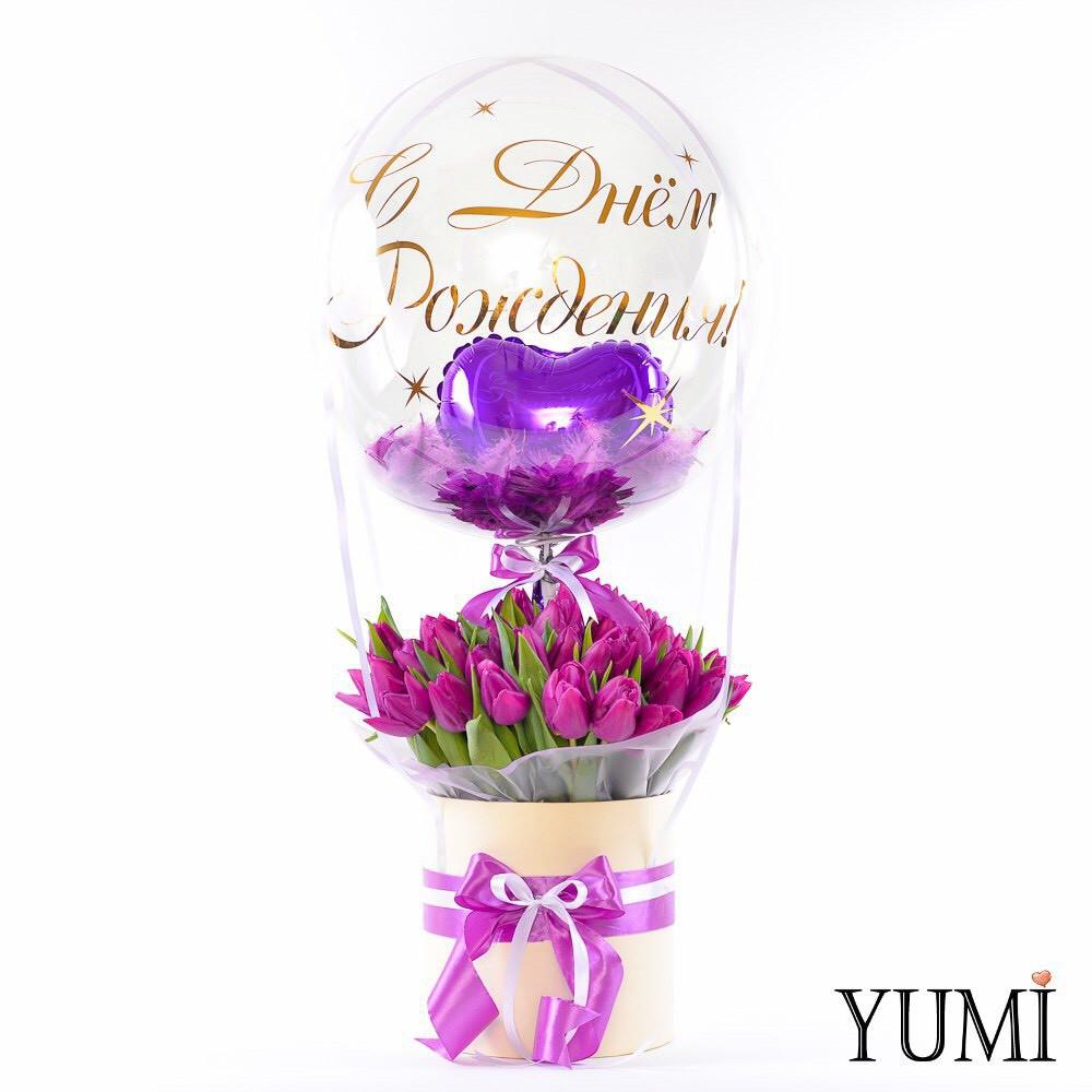 Композиция с тюльпанами на День Рождения