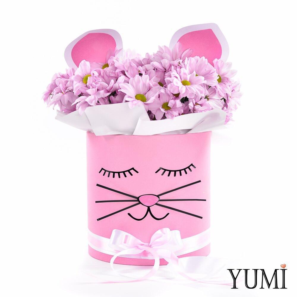 """Милый flowerbox с хризантемами """"Кошечка"""""""
