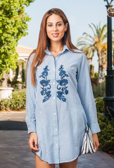 Туника, рубашка с вышивкой летняя из хлопка Индиано 1255 I