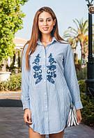 Туника, рубашка с вышивкой летняя из хлопка Индиано 1255 I, фото 1