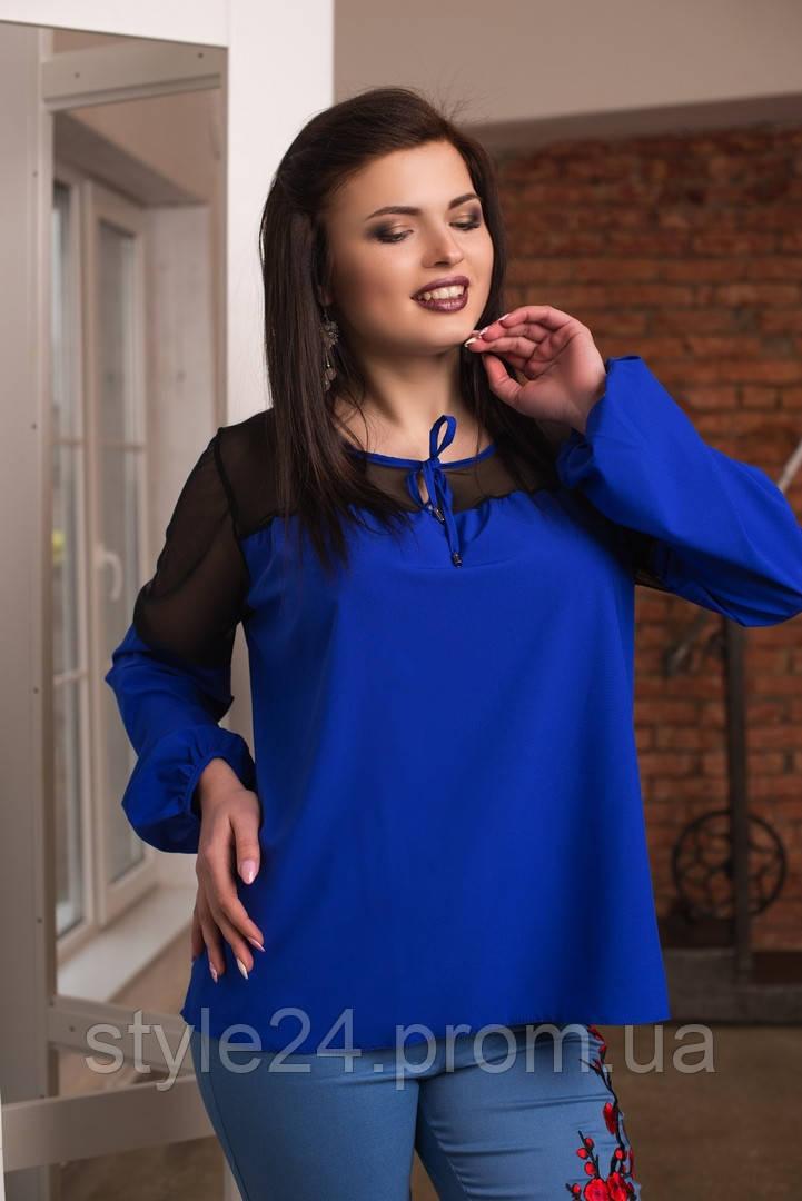 ЖІноча блуза  з вставками сітки.Р-ри 50-56