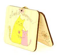 """Деревянная открытка для мамы """"Любій Матусі"""", оригинальная поздравительная открытка маме 10х7.5 см."""