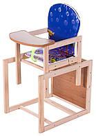 Стульчик деревянный для кормления. Еko синий (аквариум) Наталка.