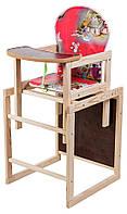 Стульчик для кормления- трансформер. Наталка Зайчик-11 деревянный. Красный (мышки, домики)