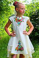 Вышитое платье для девочки Мальвина с вышивкой Диана на бежевом габардине