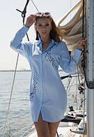 Туника, рубашка с вышивкой летняя из хлопка Индиано 1253 I, фото 1