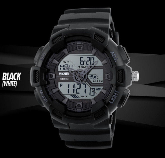 Skmei 1189 черные с белым дисплеем мужские спортивные часы