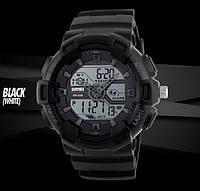 Skmei 1189 черные с белым дисплеем мужские спортивные часы, фото 1