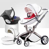 Детская коляска 3в1 Hot Mom Белая эко-кожа Прогулочная, люлька и автокресло, фото 1