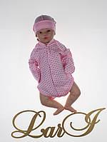 """Детский бодик для новорожденных девочек """"Горошек"""", розовый, фото 1"""
