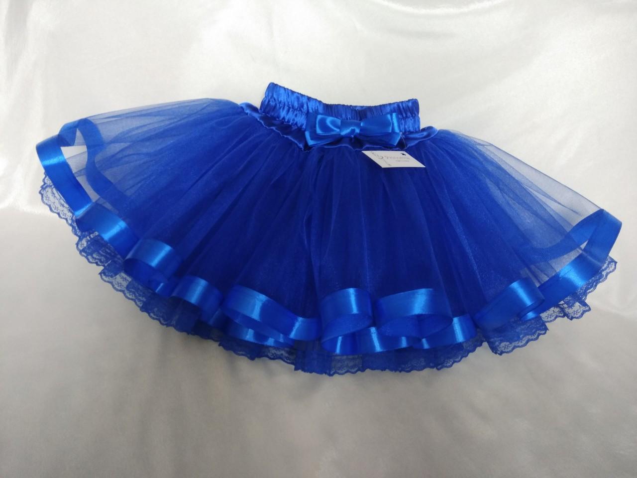 Юбочка детская фатиновая синяя на резинке, с подкладом, с лентой  и кружевом.