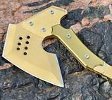 Топор кованый туристический, метательный томагавк. Модель SOG APACHE. Топор метательный. Золото без орнамента, фото 2