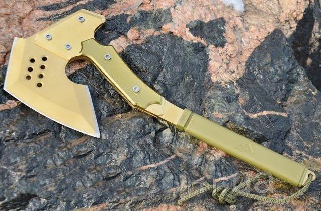 Топор кованый туристический, метательный томагавк. Модель SOG APACHE. Топор метательный. Золото без орнамента