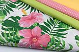 """Ткань хлопковая """"Большие розовые цветы и зелёные листья монстеры"""" на белом (№1945а), фото 9"""