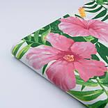 """Ткань хлопковая """"Большие розовые цветы и зелёные листья монстеры"""" на белом (№1945а), фото 6"""