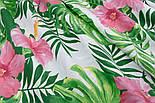 """Ткань хлопковая """"Большие розовые цветы и зелёные листья монстеры"""" на белом (№1945а), фото 8"""