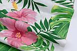 """Ткань хлопковая """"Большие розовые цветы и зелёные листья монстеры"""" на белом (№1945а), фото 7"""