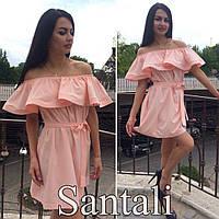 Легкое летнее платье с воланами под пояс  42-44, персиковый