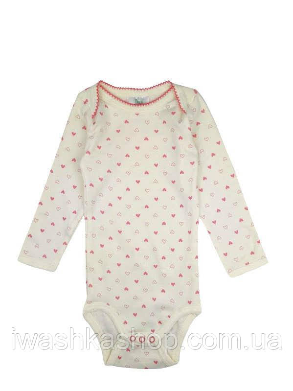 Боди с длинными рукавами в сердечки на девочек 12 - 18 месяцев, р. 86 - 92, Pocopiano