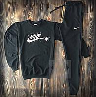 Мужской спортивный костюм Nike черного цвета (спортивный костюм Найк черный демисезонный из хлопка)