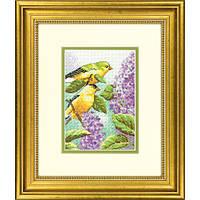 """Набор для вышивания крестом """"Птицы и сирень//Goldfinch and Lilacs"""" DIMENSIONS"""