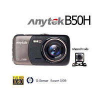 """Видеорегистратор Anytek B50H 2 камеры 4""""  авторегистратор Full HD 1920х1080р датчик движения автоотключение"""