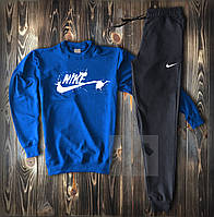 Мужской спортивный костюм Nike черно синего цвета (Найк весна/лето из хлопка двухниткаТурция)