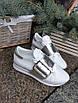 Женские кожаные кроссовки серебристо-белого цвета, фото 2