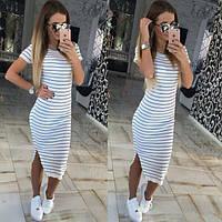 Модное платье в полоску 46-48, белый
