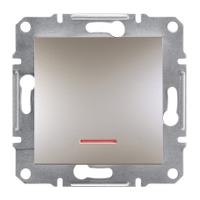 Выключатель 1-кл. с подсветкой Asfora Бронза