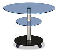 Стол журнальный стеклянный овальный Commus Light O blue_met60_венге
