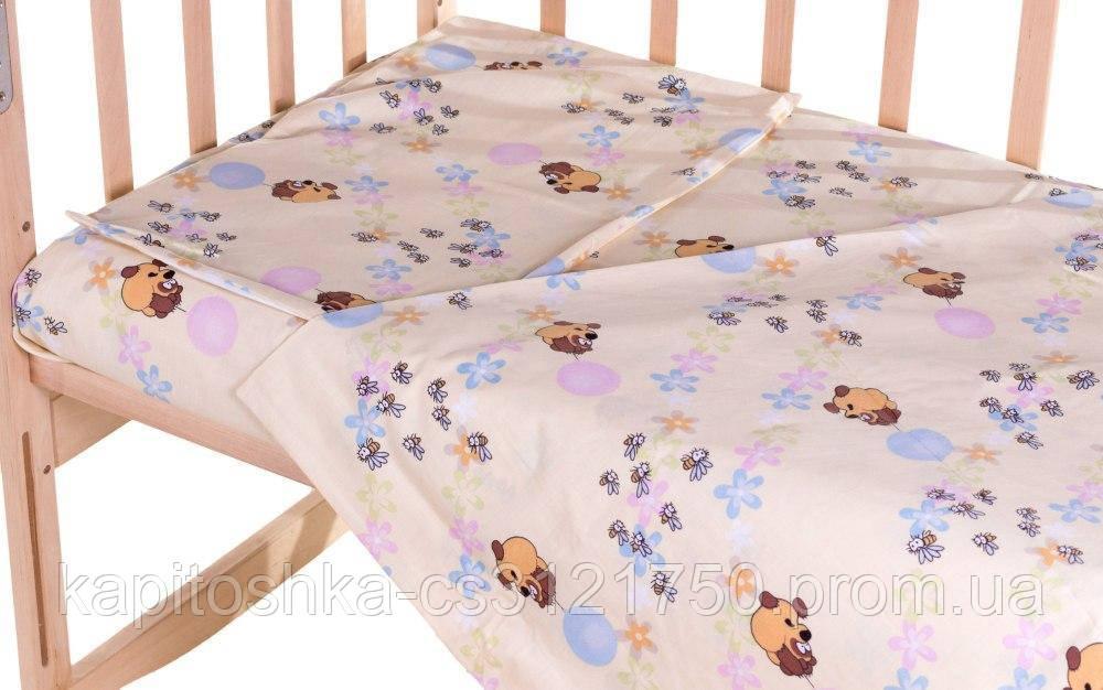 Комплект в кроватку, бортики, защита рисунок Бежевый (винни-пух с шариками)