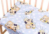 Сменное постельное белье в детскую кроватку,  рисунок Голубой (мишки спят)