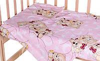 Комплект в кроватку, бортики, защита рисунок Розовые (мишки спят)