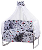 Комплект в кроватку, бортики, защита рисунок серая (черно-белые совы), фото 1