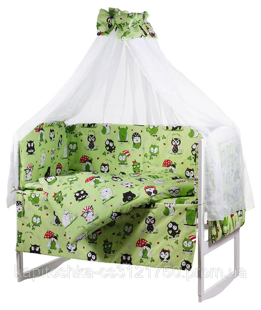 Комплект в кроватку, бортики, защита рисунок салатовая (черно-белые совы)