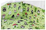 Комплект в кроватку, бортики, защита рисунок салатовая (черно-белые совы), фото 2