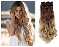 Волосы трессы на заколках ТЕРМО 7 прядей №12т22 верх русый (светло-каштановый) низ пшенчиный светло-русый