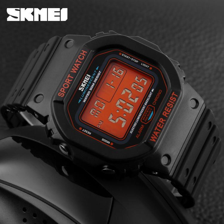 Skmei 1134 черные с оранжевым экраном мужские спортивные часы