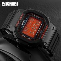 Skmei 1134 черные с оранжевым экраном мужские спортивные часы, фото 1