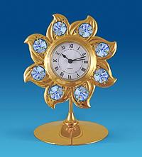 """Позолочена фігурка з годинником """"Сонце"""" з кристалами Сваровські AR-2672"""