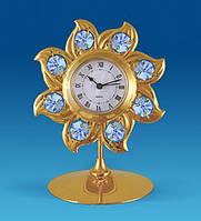 """Позолочена фігурка з годинником """"Сонце"""" з кристалами Сваровські AR-2672, фото 1"""