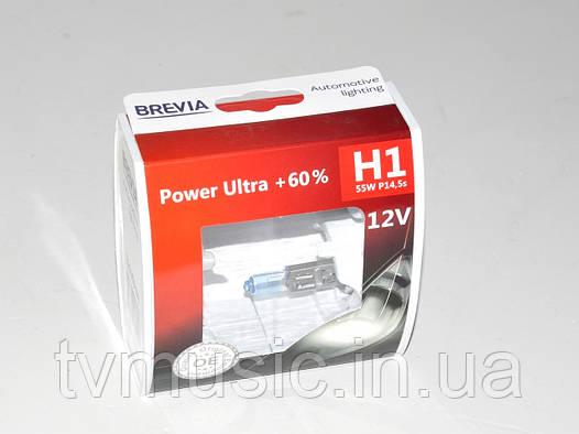 Комплект галогенных ламп Brevia H1 Power Ultra +60% (12010PUS)