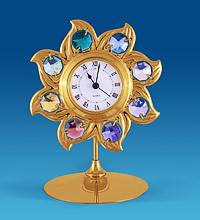 """Позолочена фігурка з годинником """"Сонце"""" з кристалами Сваровські"""