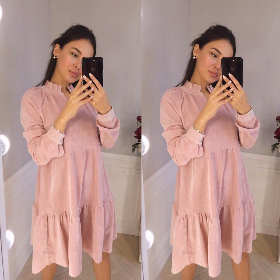6febefa7238 Стильное вельветовое платье с длинным рукавом - Интернет-магазин