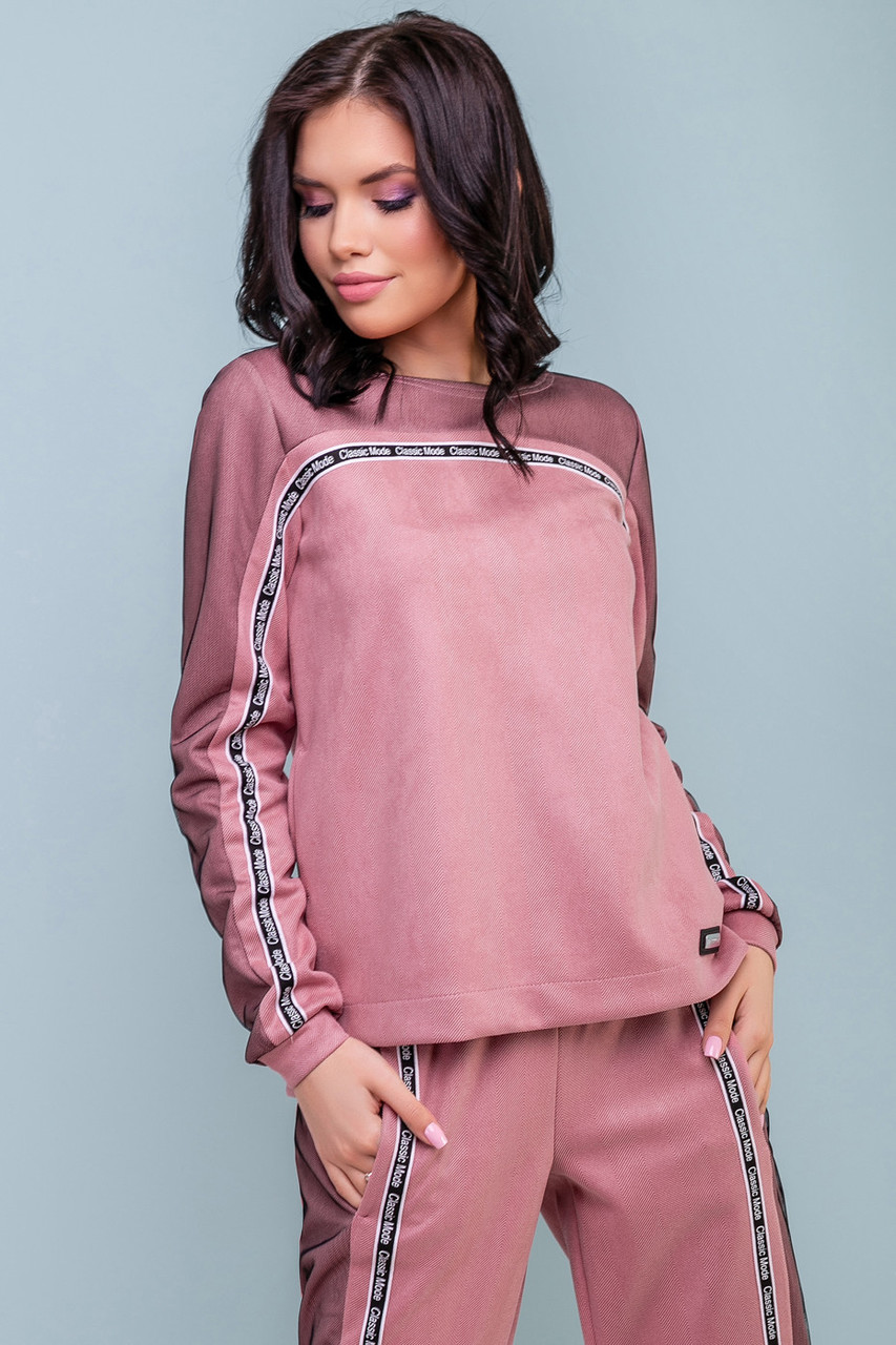 a1564e3f Женский спортивный костюм, розовый, эко-замш, повседневный, молодёжный,  стильный