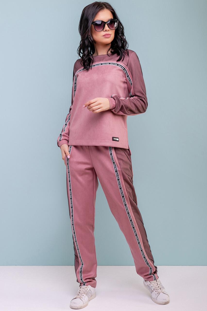 Женский спортивный костюм, розовый, эко-замш, повседневный, молодёжный, стильный