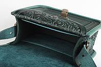 Женская зелёная кожаная сумка ручной работы с металом, фото 1