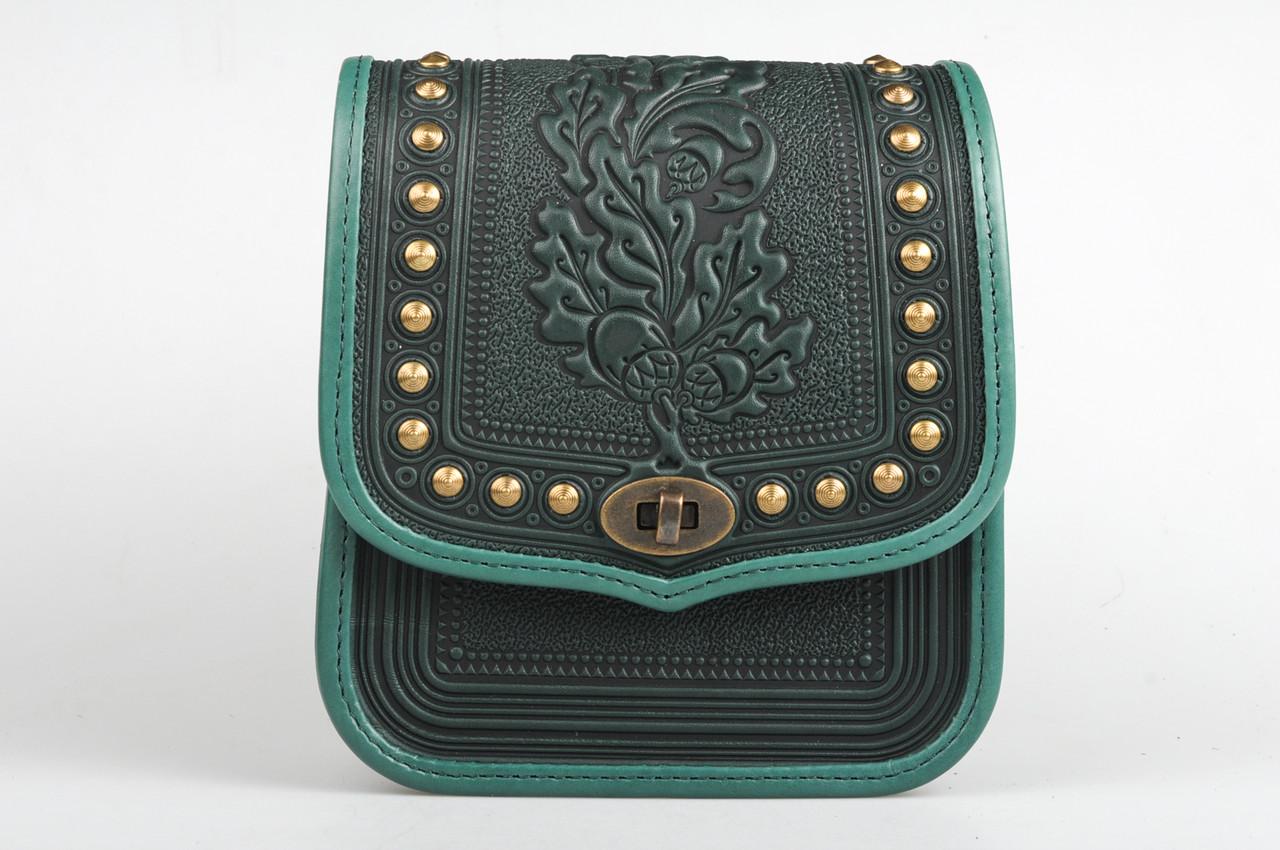62b785051116 Женская зелёная кожаная сумка ручной работы с металом - HandWork Studio -  Интернет магазин карпатских изделий